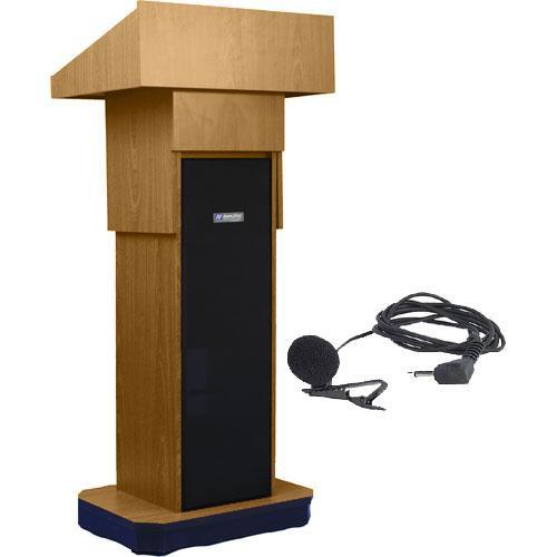 AmpliVox Sound Systems SW505A Executive Adjustable Wireless Sound Column Lectern w/ Lapel Mic (Light Oak)