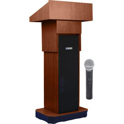 AmpliVox Sound Systems SW505A Executive Adjustable Wireless Sound Column Lectern w/ Handheld Mic (Walnut)
