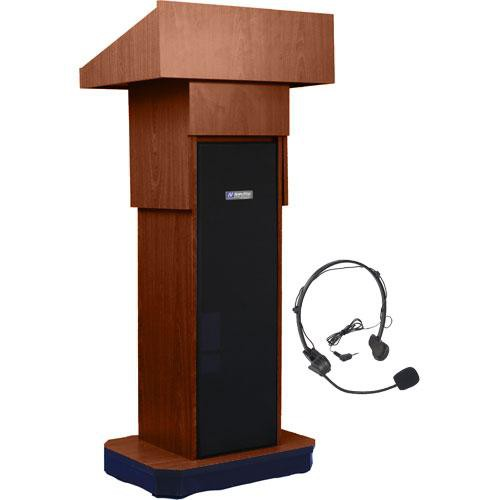 AmpliVox Sound Systems SW505A Executive Adjustable Wireless Sound Column Lectern w/ Headset Mic (Walnut)