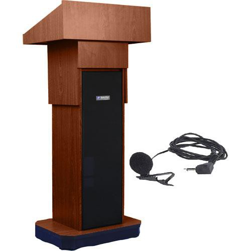 AmpliVox Sound Systems SW505A Executive Adjustable Wireless Sound Column Lectern w/ Lapel Mic (Walnut)