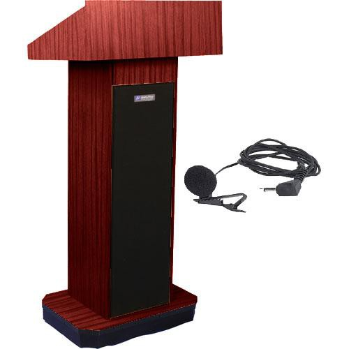 AmpliVox Sound Systems SW505 Wireless Executive Sound Column Lectern w/ Lapel & Headset Mic (Mahogany)