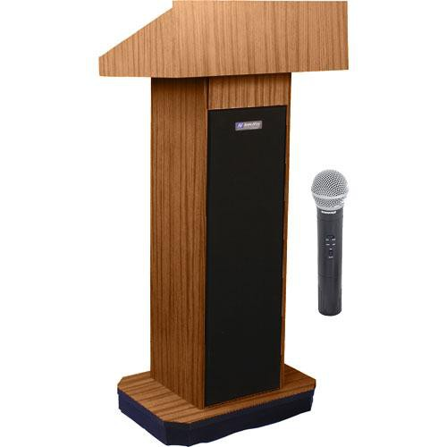 AmpliVox Sound Systems SW505 Wireless Executive Sound Column Lectern w/ Handheld Mic (Medium Oak)
