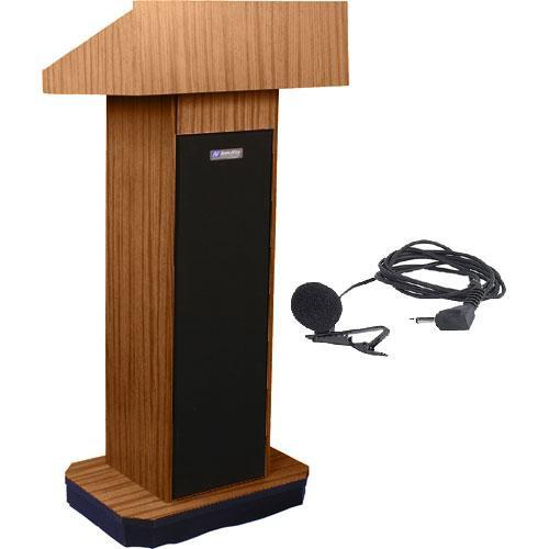 AmpliVox Sound Systems SW505 Wireless Executive Sound Column Lectern w/ Lapel & Headset Mic (Medium Oak)