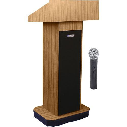 AmpliVox Sound Systems SW505 Wireless Executive Sound Column Lectern w/ Handheld Mic (Light Oak)