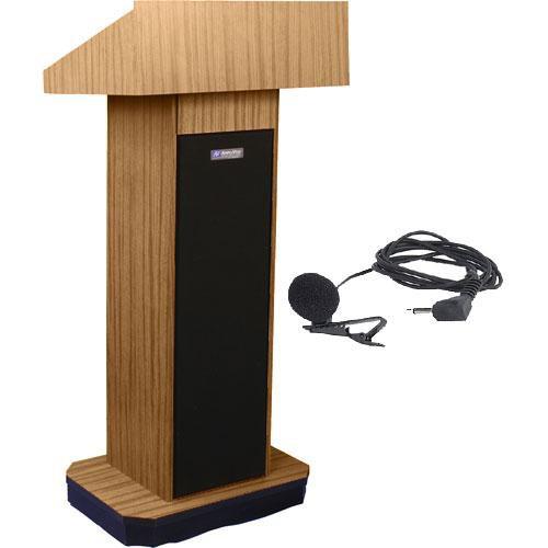 AmpliVox Sound Systems SW505 Wireless Executive Sound Column Lectern w/ Lapel & Headset Mic (Light Oak)