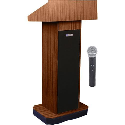 AmpliVox Sound Systems SW505 Wireless Executive Sound Column Lectern w/ Handheld Mic (Walnut)