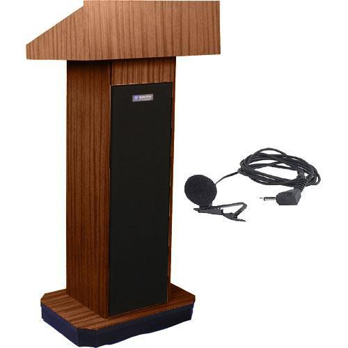 AmpliVox Sound Systems SW505 Wireless Executive Sound Column Lectern w/ Lapel & Headset Mic (Walnut)