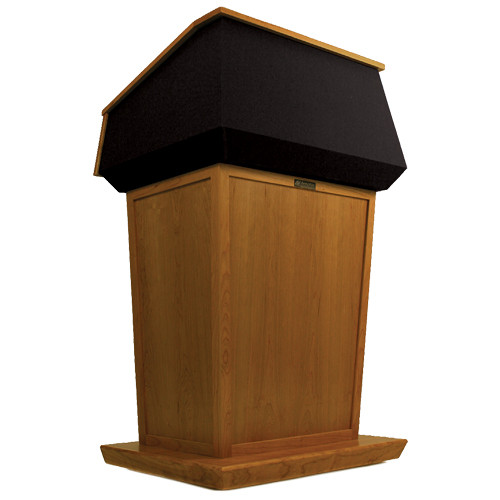 AmpliVox Sound Systems Patriot Lectern (Non-Sound, Natural Cherry with Black Canvas Accent)