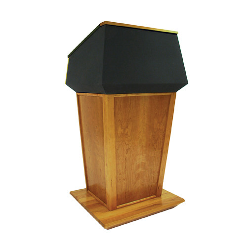 AmpliVox Sound Systems Patriot Plus Lectern (Non-Sound, Natural Cherry with Black Canvas Accent)