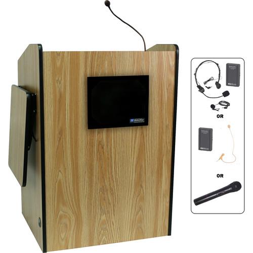 AmpliVox Sound Systems SW3235-MO Wireless Multimedia Presentation Podium (Medium Oak)