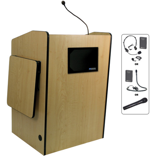 AmpliVox Sound Systems SW3235-MP Wireless Multimedia Presentation Podium (Maple)