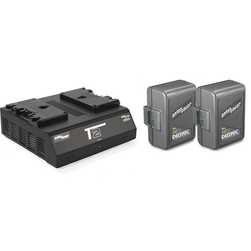 Anton Bauer Two DIONIC HCX Batteries and T2 Charger Kit