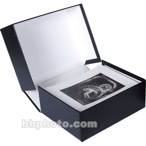 """Archival Methods Onyx Portfolio Box - 11.25 x 14.25 x 4"""" - Black Buckram/White"""