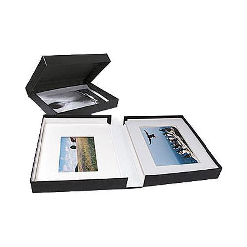 """Archival Methods Onyx Portfolio Box - 14.25 x 18.25 x 2"""" - Black Buckram/Black"""