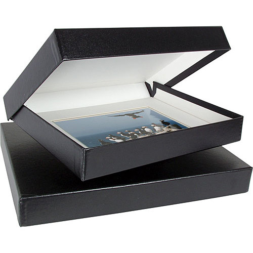 "Archival Methods 11.75 x 17.5 x 1.37"" Onyx Portfolio Box (Black Buckram with White Lining)"