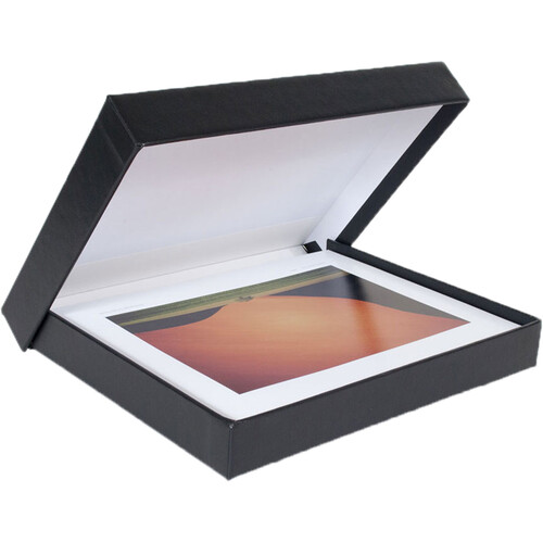 "Archival Methods 13.75 x 19.5 x 1.37"" Onyx Portfolio Box (Black Buckram with White Lining)"