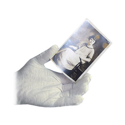 Archival Methods Medium-Weight Bleached Cotton Inspection Gloves (Small, 12-Pack)