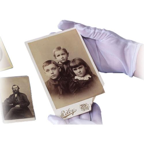 Archival Methods 61-555-M White Nylon Gloves (Medium, 12 Pairs)