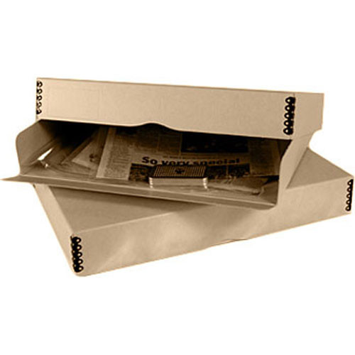 """Archival Methods 14x18""""  Drop Front Drop Front Storage Box (Tabloid/Folded Broadsheet Newspaper Kit , Metal Desiccant Canister)"""
