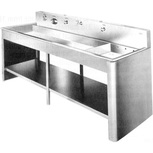 """Arkay 2-Compartment Stainless Steel Graphic Arts Tray Processing Sink with Vinyl-Clad Steel Stand & Shelf (80x20x5"""")"""