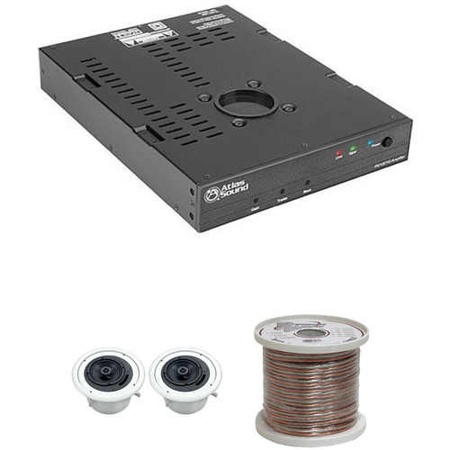 Atlas Sound 70V Ceiling Mounted Sound System for A/V and Conference Rooms (2 Speakers)