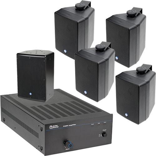 Atlas Sound APAKSMSB Amplifier and Surface Mount Speaker Package System (Black)