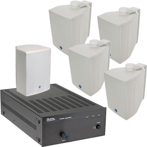 Atlas Sound APAKSMSW Amplifier and Surface Mount Speaker Package System (White)