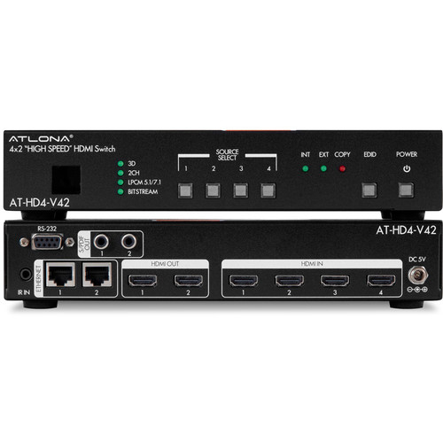 Atlona Four Input HDMI Switcher with Mirrored HDMI Outputs