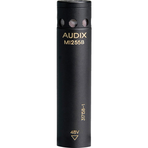 Audix M1255B-HC Miniature Condenser Microphone with 25' Cable (Hypercardioid, Black)