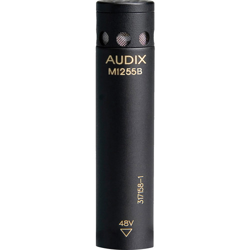 Audix M1255BO Miniature Condenser Microphone with 25' Cable (Omnidirectional, Black)