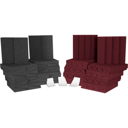 Auralex D36 Roominator 18 DST-112 (C/G), 18 DST-114 (B), and 2 Tubes of Tubetak Pro Adhesive Kit (Charcoal/Gray and Burgundy)
