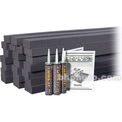 """Auralex PlatFoam (Charcoal Gray) - 2"""" x 4"""" x 48"""" High-Density Foam Riser Supports - 24 Pieces with 3 Tubes of Tubetak Pro Adhesive"""