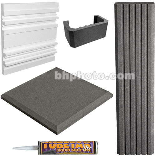 "Auralex SFS-184 SonoFlat System (Charcoal Gray) - 32 2"" SonoFlat Panels (Charcoal Gray,) 8 SonoColumns (Charcoal Gray,) 8 SonoCollars (Charcoal Gray,) 6 Q'Fusors and 12 Tubes of TubeTak Pro Adhesive"