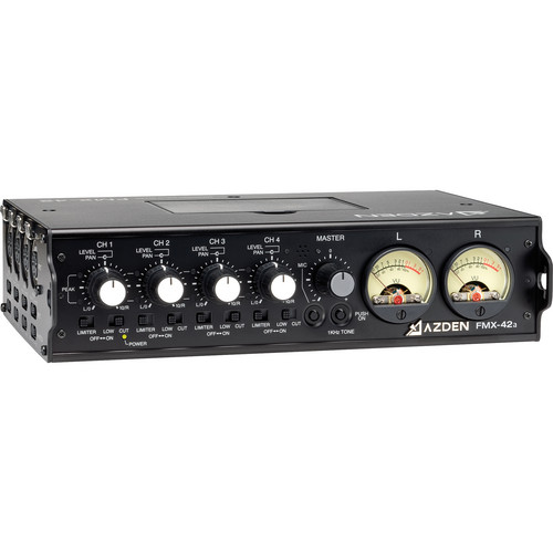 Azden FMX-42a 4-Channel Microphone Field Mixer with 10-Pin Camera Return
