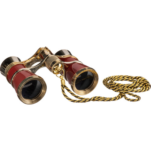 Barska 3x25 Blueline Opera Glasses with Necklace (Red & Gold)