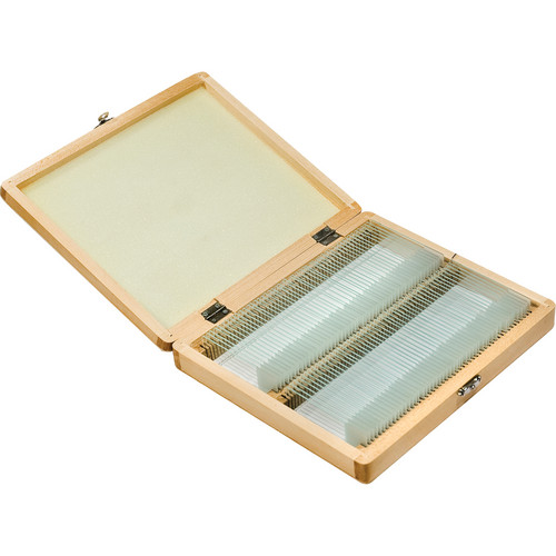 Barska AF11566 100 Prepared Microscope Slides with Wooden Case