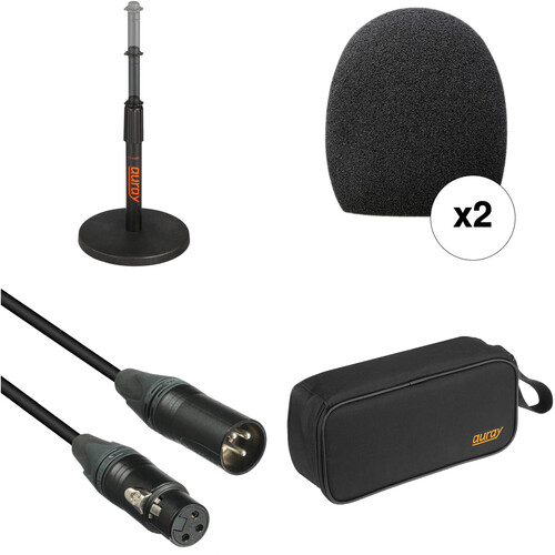 B&H Photo Video Handheld Microphone Accessory Kit with Pouch and Desk Stand