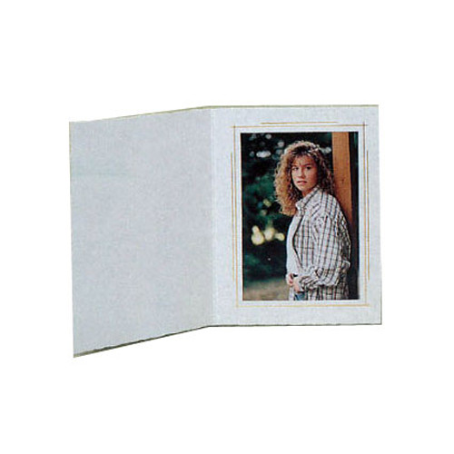 "B. Oshrin Whitehouse Folder (4 x 5"", White with Gold Trim, 25 Pack)"