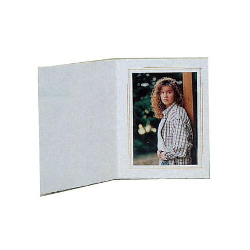 "B. Oshrin Whitehouse Folder (4 x 5"", White with Gold Trim, 25 Pack)"