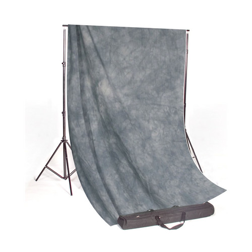Backdrop Alley Studio Stand with Premium Muslin Kit (10 x 10', Slate Grey Fabric)