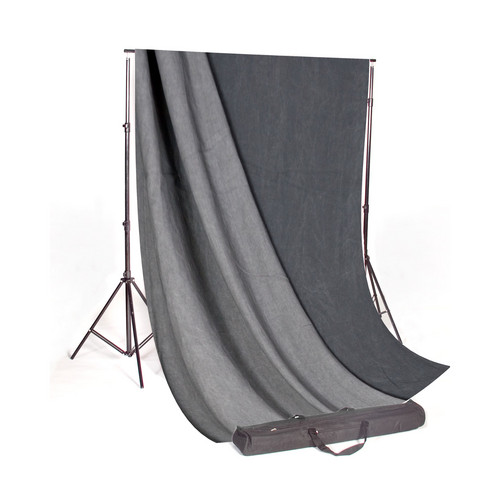 Backdrop Alley Studio Stand with Reversible Premium Muslin Background (10 x 20', Charcoal/Lighter Gray)