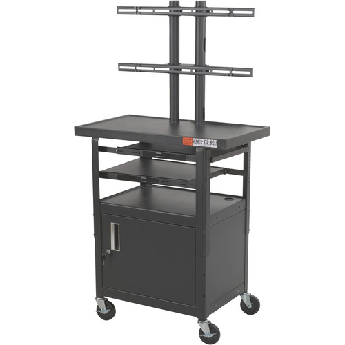 Balt Model 27530, Height Adjustable Flat Panel TV Cart with Cabinet (Black)