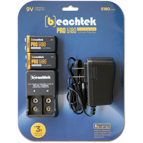 Beachtek PRO5180 Rechargeable 9V Battery Kit with Smart Charger and AC Adapter