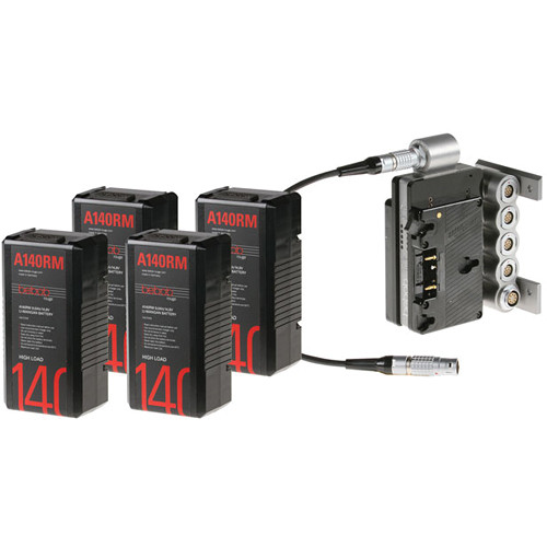 Bebob Engineering Four A140RM Batteries & Dual-Battery Adapter Kit for Sony F65 (Gold Mount)