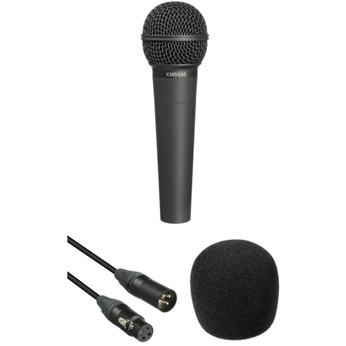 Behringer XM8500 Microphone, 15' XLR Cable and Foam Windscreen Kit