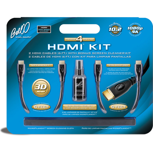 Bell'O (2) 6' (1.8 m) HDMI Cables with Bonus Screen Cleaner Kit