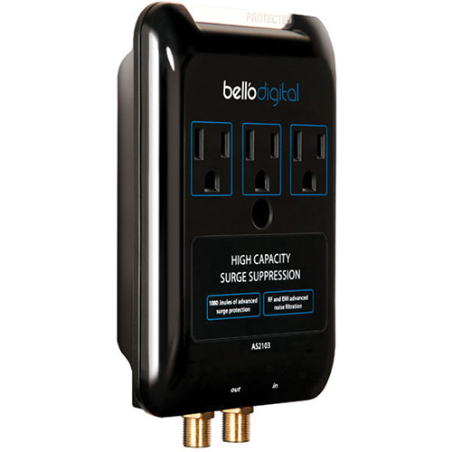 Bell'O 3 Outlet Audio/Video Surge Protector (Gloss Black)