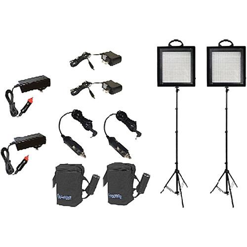 Bescor LED-500KB 2 Light Studio Battery Kit (100-240VAC)
