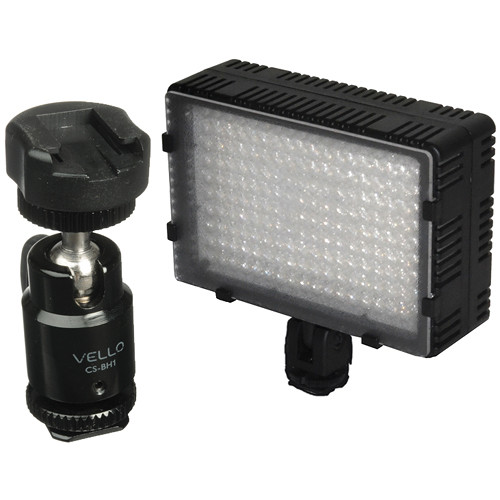 Bescor LED-180 On-Camera Light with Vello Multi-Function Ball Head Kit