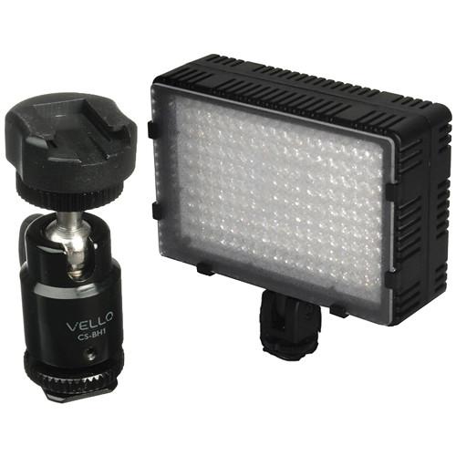 Bescor LED-180 On-Camera Light with Vello Multi-Function Ball Head Kit